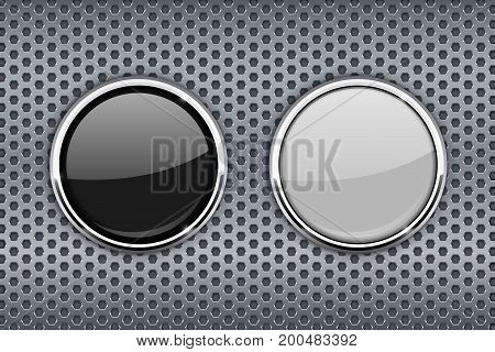 Black and white round glass buttons with chrome frame. On metal perforated background. Vector illustration