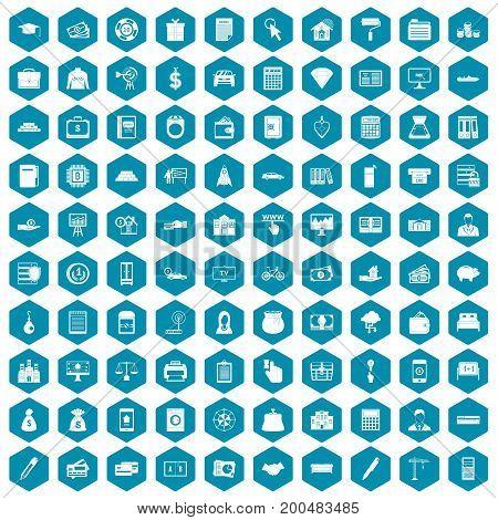 100 credit icons set in sapphirine hexagon isolated vector illustration