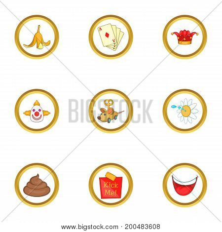 Joke icons set. Cartoon illustration of 9 joke vector icons for web design