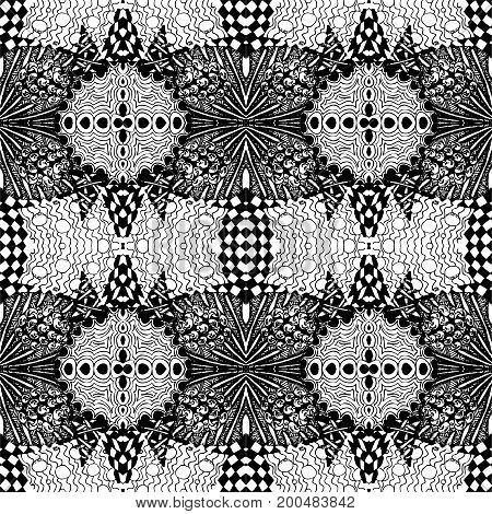 Black-white tiles seamless pattern. Vector illustration. Drawing by hand