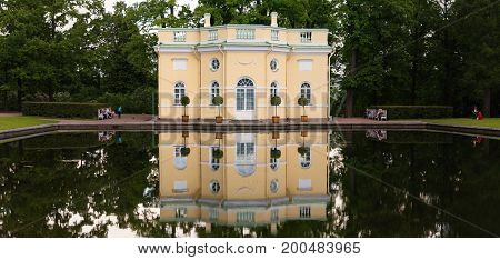 Petersburg Russia - June 29 2017: Tsarskoe Selo House by the pond