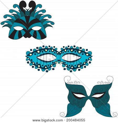 set of carnival masks. vector illustration. Drawing by hand