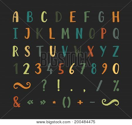 Handwritten bold grunge font with punctuation marks on black background. Uppercase font contains question mark, exclamation point, period, comma, dash, hyphen, bracket etc. Vector illustration.