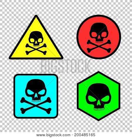 Skull stickers icon set on transparent background. Attention dangerous sign labels collection. Simple triangle round and square hazard toxic voltage alert symbol