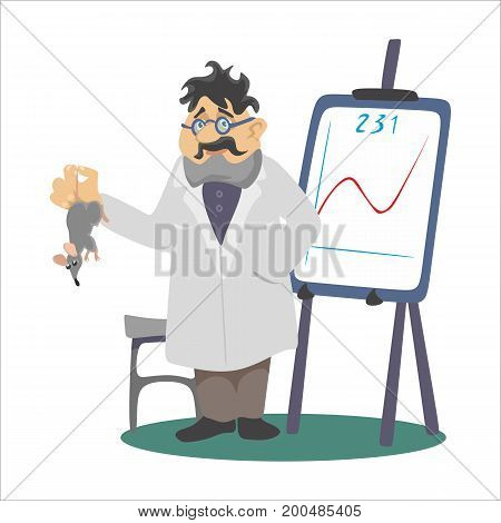 Professor near the blackboard with formulas at university lecture, teacher in class at lesson teaches students, higher education in the college, school knowledge study vector illustration