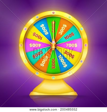 Realistic retro gold wheel of fortune or luck. Vector illustration