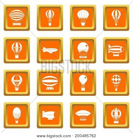 Retro balloons aircraft icons set in orange color isolated vector illustration for web and any design