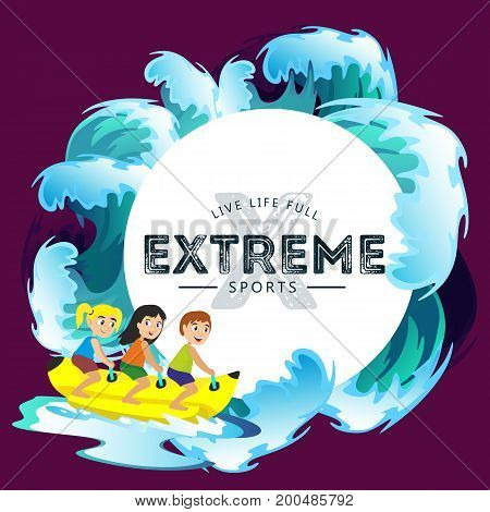 banana boat water extreme sports, isolated design element for summer vacation activity concept, cartoon wave surfing, sea beach vector illustration, active lifestyle adventure.