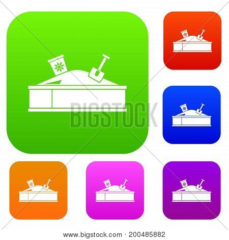Sandbox with bucket and shovel set icon in different colors isolated vector illustration. Premium collection