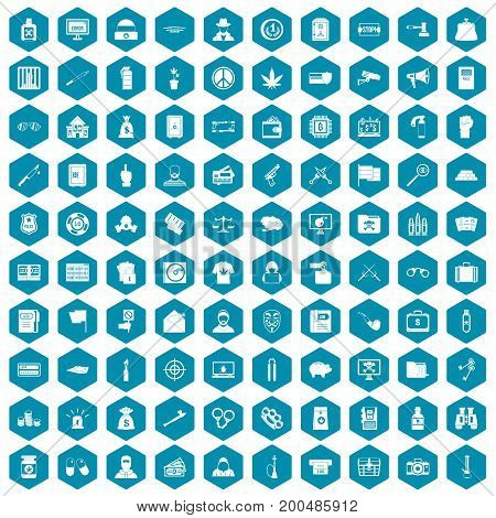 100 criminal offence icons set in sapphirine hexagon isolated vector illustration