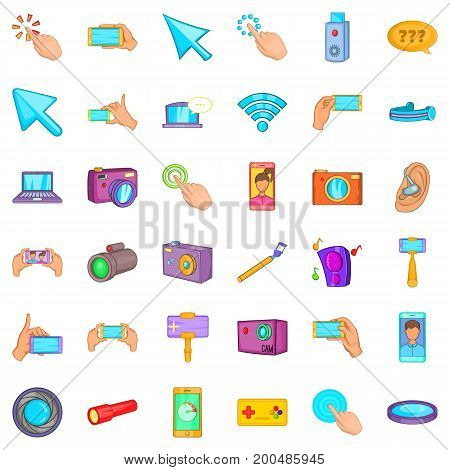 Modern device icons set. Cartoon style of 36 modern device vector icons for web isolated on white background