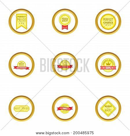 Award icons set. Cartoon illustration of 9 award vector icons for web design