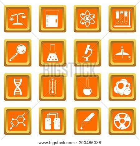 Chemical laboratory icons set in orange color isolated vector illustration for web and any design