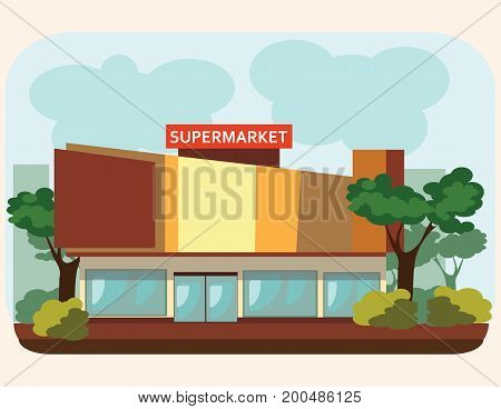 supermarket building standing on the street, food and other products sale in city shop facade, urban store construction, market exterior with windows signs and doors, architecture vector illustration.