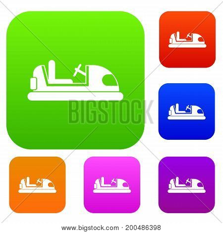 Toy car set icon in different colors isolated vector illustration. Premium collection
