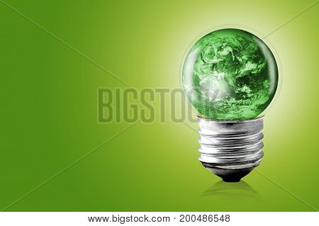 Eco Concept: Light Bulbs With Green Color World Inside, Elements Of This Image Furnished By Nasa