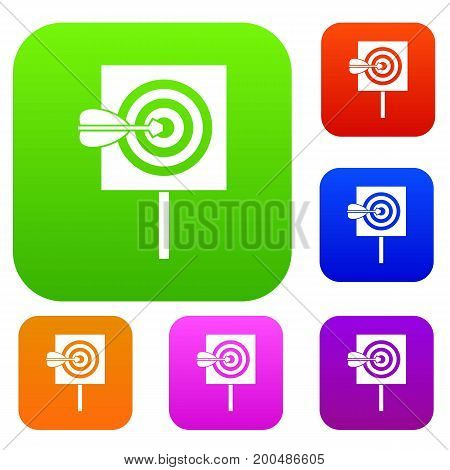 Arrow in the center of target set icon in different colors isolated vector illustration. Premium collection