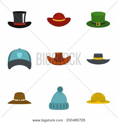 Hat icon set. Flat set of 9 hat vector icons for web isolated on white background