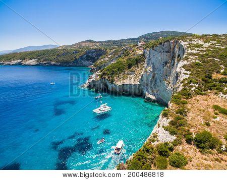 Aerial  View Of  Agios Nikolaos Blue Caves  In Zakynthos (zante) Island, In Greece
