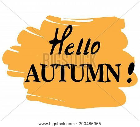 vector illustration of hello autumn background with hand written text