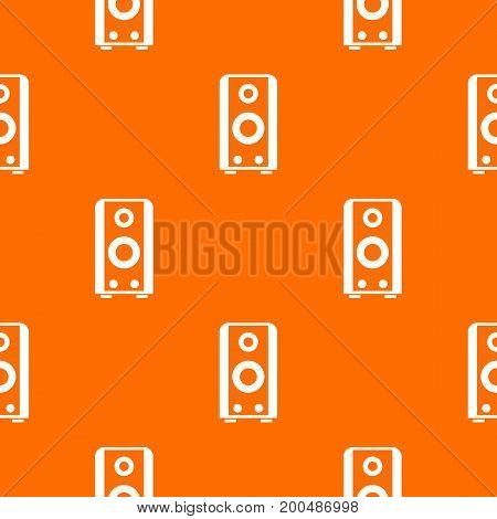 Black sound speaker pattern repeat seamless in orange color for any design. Vector geometric illustration