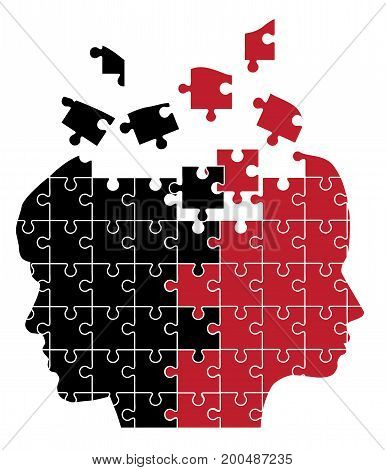 vector illustration of man and woman head silhouette puzzle