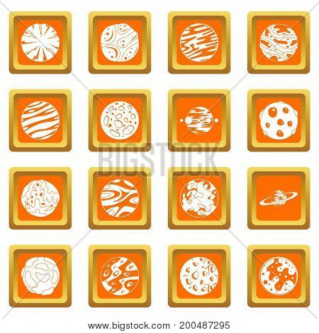 Fantastic planets icons set in orange color isolated vector illustration for web and any design
