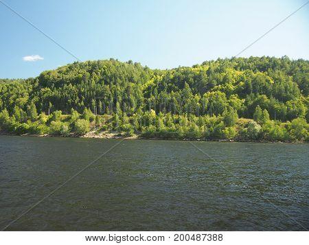 Boat Trip Along The Volga River. Russia. Zhiguli Mountains.
