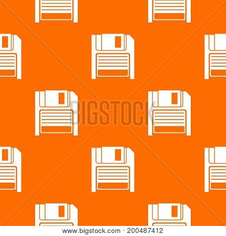 Magnetic diskette pattern repeat seamless in orange color for any design. Vector geometric illustration