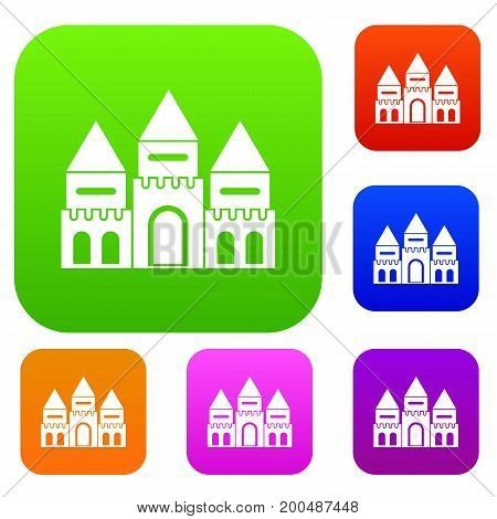 Children house castle set icon in different colors isolated vector illustration. Premium collection