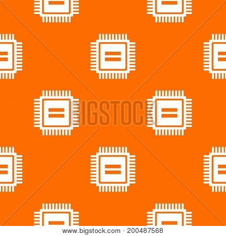 Electronic circuit board pattern repeat seamless in orange color for any design. Vector geometric illustration