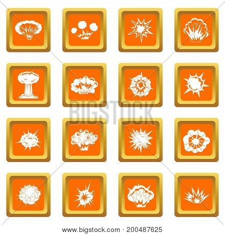 Explosion icons set in orange color isolated vector illustration for web and any design