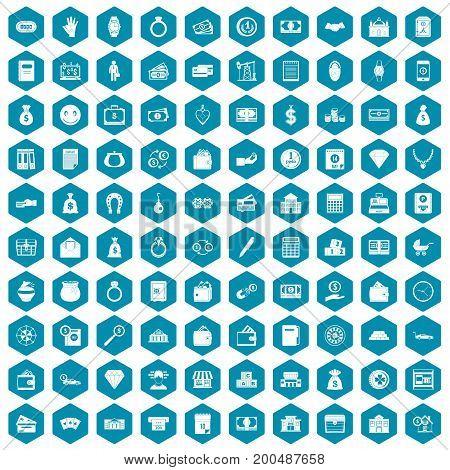 100 deposit icons set in sapphirine hexagon isolated vector illustration