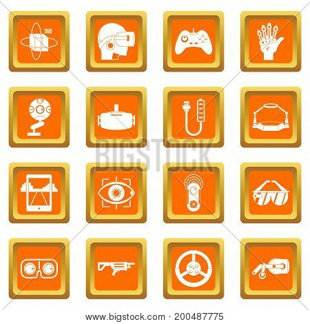 Virtual reality icons set in orange color isolated vector illustration for web and any design