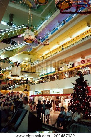 SINGAPORE - CIRCA DECEMBER, 1990: The Orchard Plaza shopping centre, on Orchard Road, is festively decorated for Christmas.
