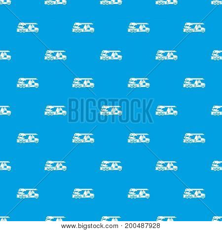 Fire engine pattern repeat seamless in blue color for any design. Vector geometric illustration