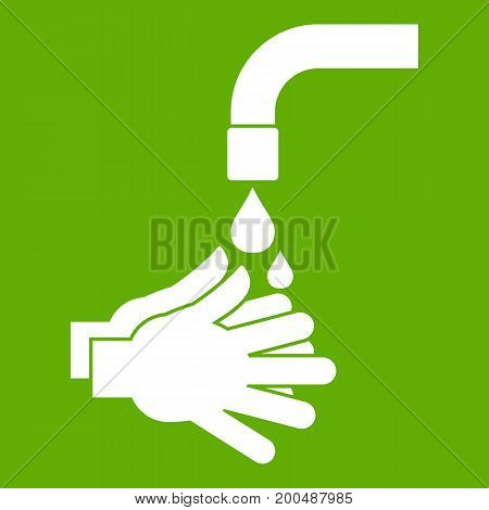 Cleaning hands icon white isolated on green background. Vector illustration