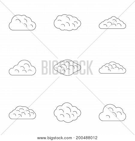 Cloud icon set. Outline set of 9 cloud vector icons for web isolated on white background
