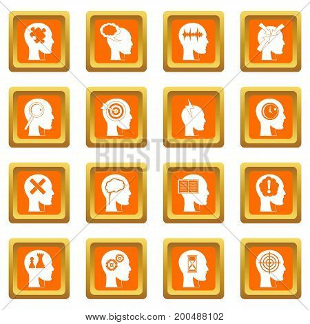 Head logos icons set in orange color isolated vector illustration for web and any design
