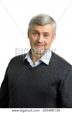 Portrait of white-skin mature man. Elderly quiet man in casual wear close up on white background.