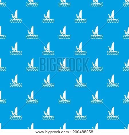 Man on windsurf pattern repeat seamless in blue color for any design. Vector geometric illustration