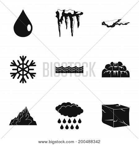 Water icon set. Simple set of 9 water vector icons for web isolated on white background