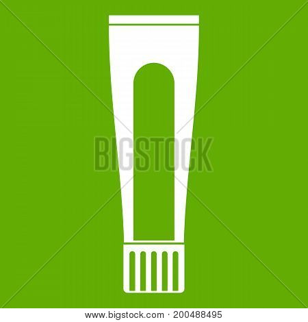 Toothpaste tube icon white isolated on green background. Vector illustration