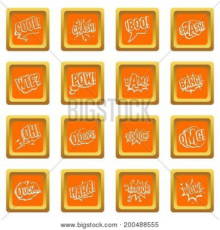 Comic colored sound icons set in orange color isolated vector illustration for web and any design