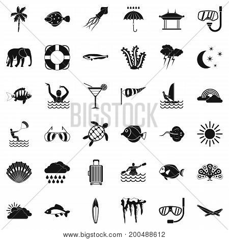 Diving in ocean icons set. Simple style of 36 diving in ocean vector icons for web isolated on white background