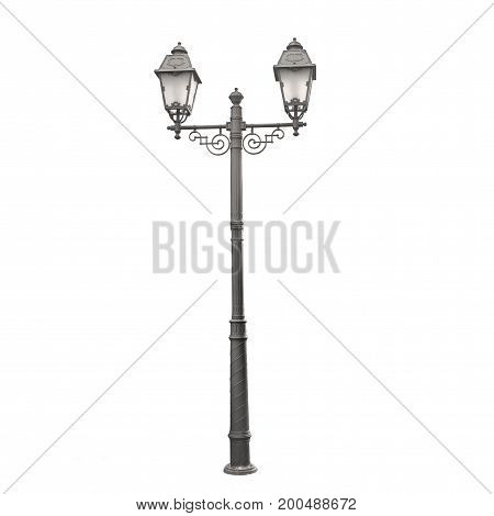 real Vintage street light isolated on white