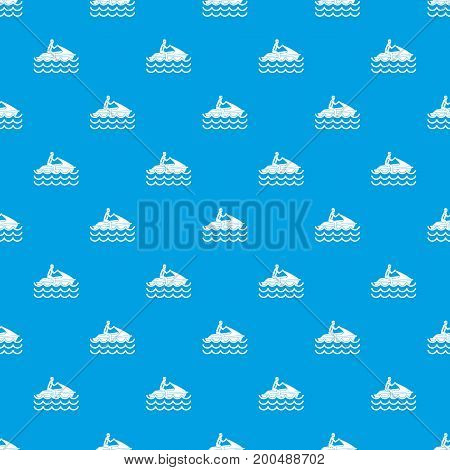Man on jet ski rides pattern repeat seamless in blue color for any design. Vector geometric illustration