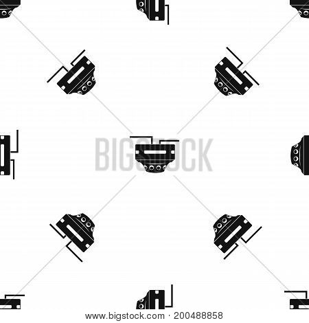 Monitor socket pattern repeat seamless in black color for any design. Vector geometric illustration