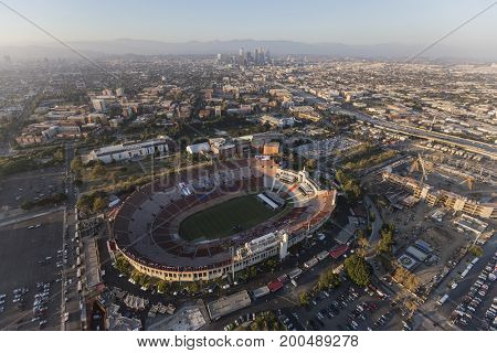 Los Angeles, California, USA - August 7, 2017:  Aerial view of the historic LA Memorial Coliseum stadium, USC and downtown.