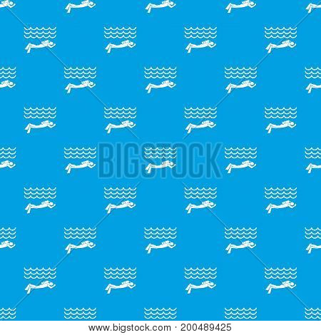 Scuba diver man in diving suit pattern repeat seamless in blue color for any design. Vector geometric illustration